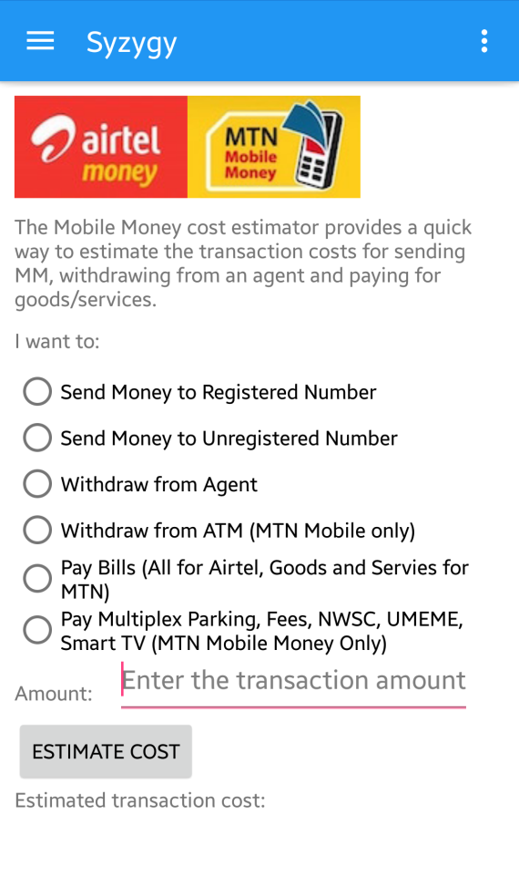 Mobile Money Cost Estimator